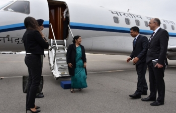 Honble Minister of External Affairs of India, Mrs. Sushma Swaraj, arrived Baku (Azerbaijan) for a bilateral visit and to attend the NAM Ministerial Meeting