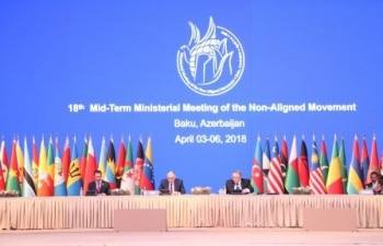 Honble EAM attends the NAM-Ministerial Meeting in Baku (05 Apr 2018)