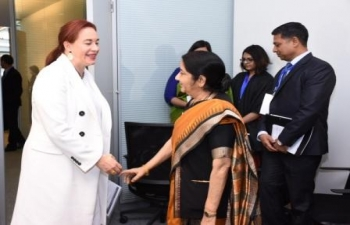 Honble EAM met with Minister of Foreign Affairs and Human Mobility of Ecuador, Ms. Maria Fernanda Espinosa, on the sidelines of NAM Ministerial Meeting in Baku (05 Apr 2018)