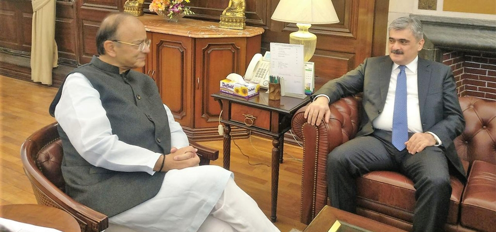 Meeting between FM Arun Jaitley and Azerbaijani FM Samir Sharifov in New Delhi on 21 Feb 2018