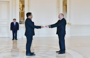 Presentation of credentials by Ambassador B. Vanlalvawna to Azerbaijani President Ilham Aliyev (11 March 2019)