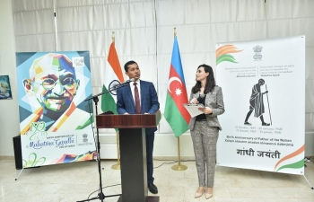 To commemorate the 150th birth anniversary of Mahatma Gandhi, Embassy of India, Baku organized a painting exhibition on 27.03.2019 in association with Azerbaijan Union of Artists at ADRA Museum at the Exhibition Complex of Azerbaijan State Academy of Fine Arts, Baku.