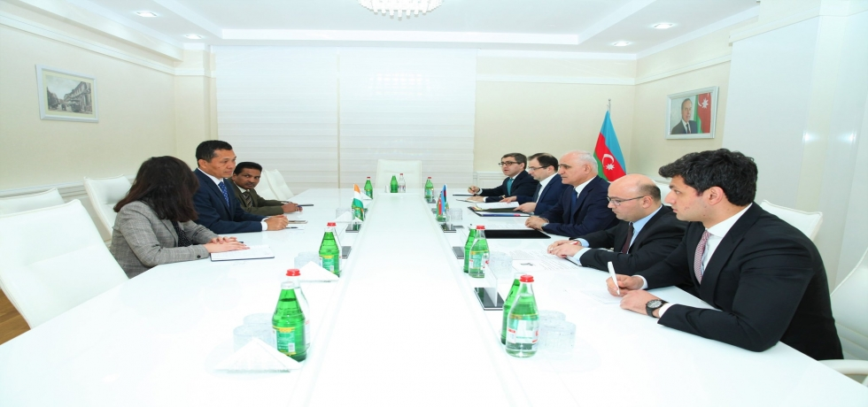 Ambassador in meeting with H.E Shahin Mustafayev, Minister of Economy of the Republic of Azerbaijan. The sides reviewed economic and commercial ties between the two countries.