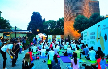 Towards ongoing celebration of 5th International Day of Yoga, 2019, Embassy of India organized a Yoga Session at Maiden Tower, Icherisheher, Baku on 10 June 2019.
