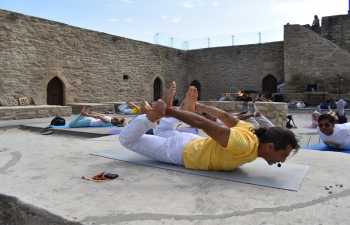 Embassy of India, Baku organized a Yoga Session in association with Classical Yoga School at Ateshgah Temple State Historical Architectural Reserve, Baku.