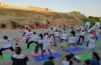 """Yoga at Land of Fire - Yanardag""  Embassy of India, Baku in association with Yanardag State Historical, Cultural and Natural Reserve and Yoga Shahi Studio organized a Yoga Session at Yanardag."