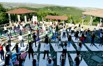 """Yoga in the Lap of Nature - Samakhi"".  Embassy of India, Baku in association with Indian Council For Cultural Relations and Yoga Shahi Studio organized a rejuvenating Yoga Session at Samakhi, amidst beautiful landscape."