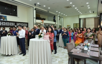 'Azermarka' under the Ministry of Communications, Azerbaijan, released a commemorative Postal Stamp on 150th Birth Anniversary of Mahatma Gandhi in an event organized by Embassy of India, Baku.
