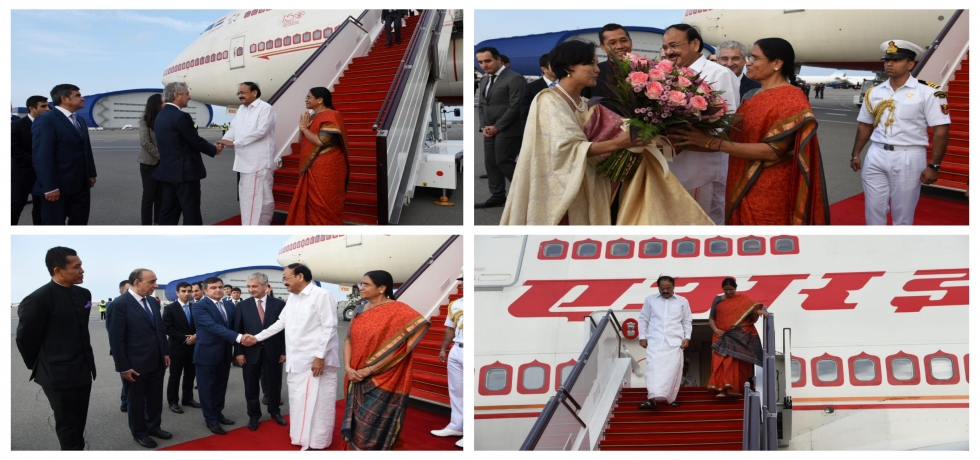 Hon'ble Vice President of India Shri M Venkaiah Naidu  arrives to a warm welcome in Baku ahead of the  #NAMSummit2019.