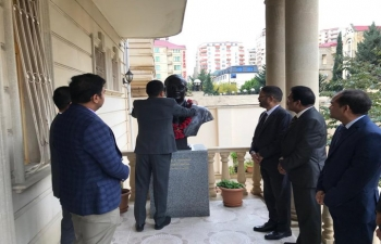 Embassy of India in Baku celebrates Constitution Day by garlanding the bust of Dr. B.R. Ambedkar in the Embassy premise.