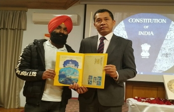 Ambassador released the commemorative stamp on 550th Birth Anniversary of Guru Nanak Devji on the occasion of Constitution Day Celebration at the Embassy of India in Baku.