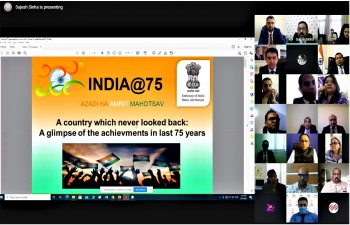 #AzadiKaAmritMahotsav : Embassy of India, Baku held an Online interactive event celebrating #IndiaAt75 on March 30, 2021 .  H.E. Mr. Nagif Hamzayev, Member of Parliament and Head of Azerbaijan-India Working Group on Parliamentary Relations graced the occasion as Chief Guest.