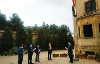 Ambassador administered the pledge to India based officers of the Mission today on the occasion of #SadbhavnaDiwas.