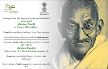 Embassy celebrated the 152nd birth anniversary of Mahatma Gandhi